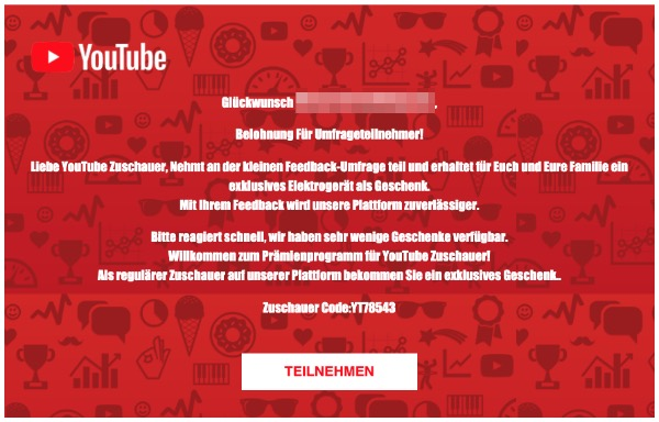 2020-03-02 YouTube Spam Fake Mail exklusives Geschenk