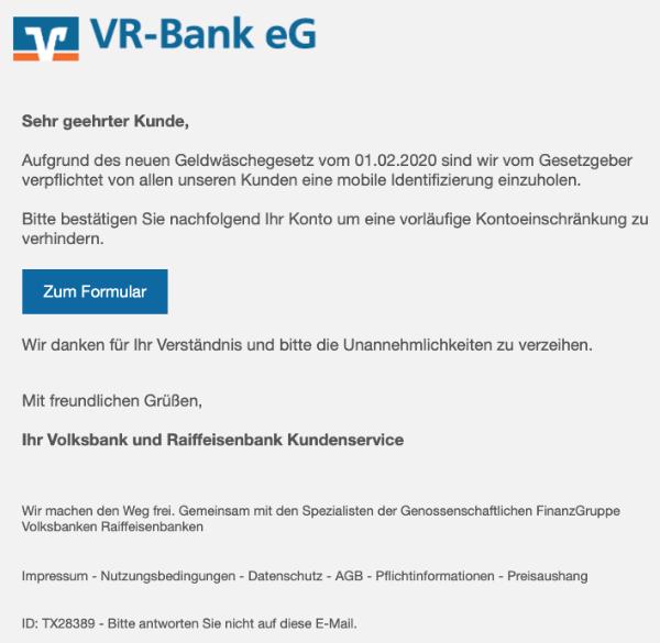 2020-03-03 Volksbank Spam Phishing Fake-Mail