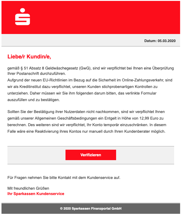2020-03-05 Sparkasse Spam-Mail Fake Phishing Konto in Gefahr