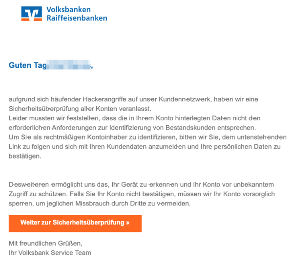 2020-03-05 Volksbank Spam-Mail Fake Konto gesperrt