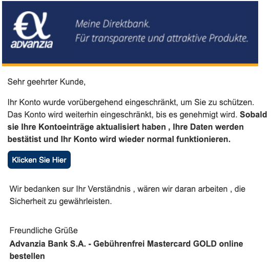 2020-03-06 Advanzia Bank Spam Fake Mail Konto gesperrt