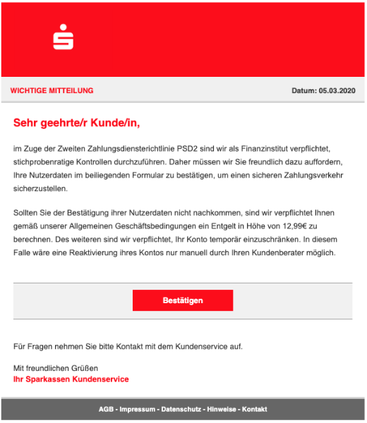 2020-03-06 Sparkasse Spam-Mail Fake Konto in Gefahr