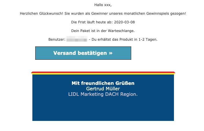 2020-03-09 Lidl Spam-Mail Fake Abofalle Sie wurden als Gewinner unseres monatlichen Gewinnspiels gezogen