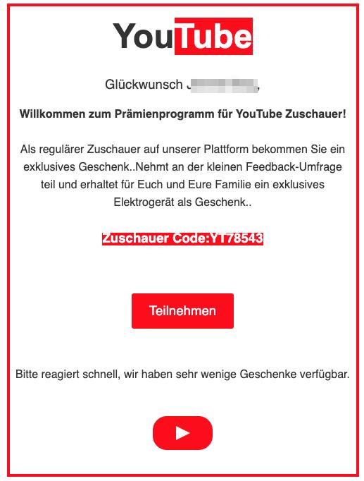 2020-03-09 Youtube fake-Mail Zuschauer Geschenk Umfrage