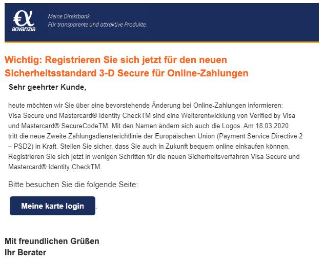 2020-03-11 Advanzia Bank Spam Fake Mail Ueberpruefung Ihrer Stammdaten