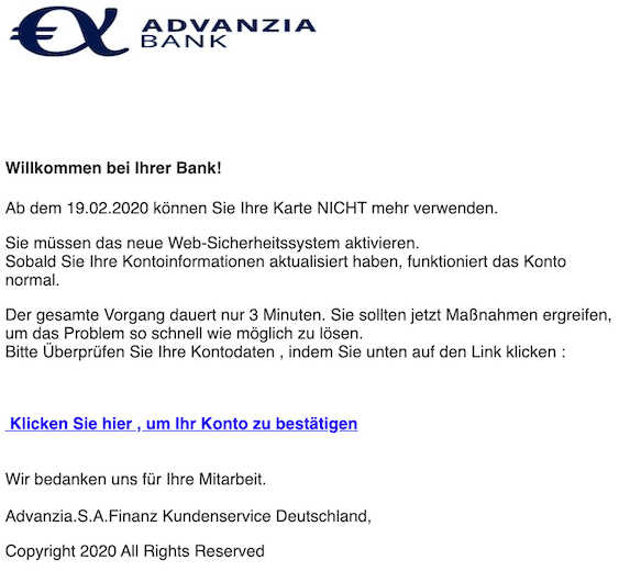 2020-03-12 Advanzia Phishing