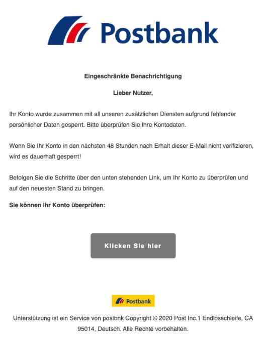 2020-03-12 Postbank Spam Fake Mail Benachrichtigung Aktualisieren