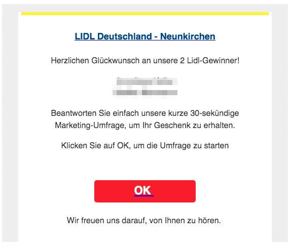 2020-03-14 Lidl Spam-Mail Letzte Warnung Ihr Preis geht heute verloren