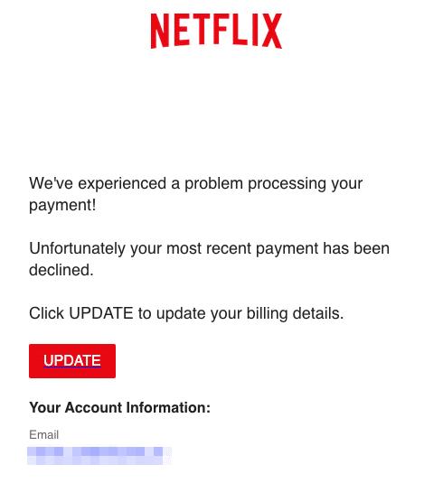 2020-03-17 Netflix Spam-Mail Your Netflix payment was unsuccessful
