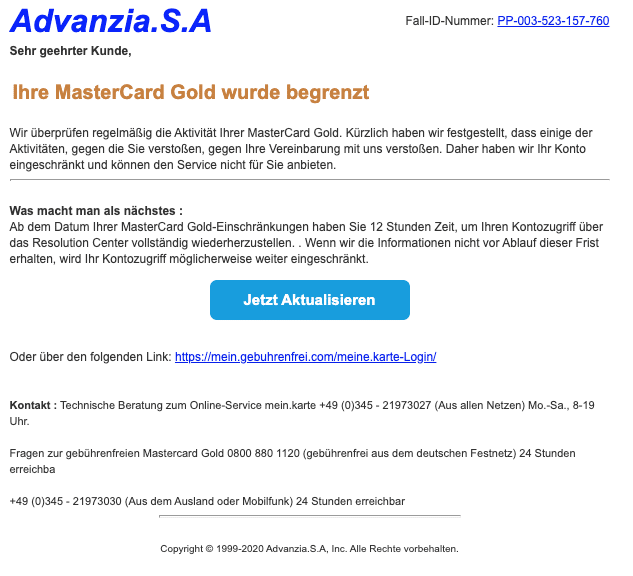 2020-03-18 Advanzia Fake Spam Mail Ab dem Datum Ihrer MasterCard Gold
