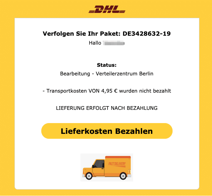 2020-03-19 DHL Spam Fake Abofalle E-Mail Paketzustellung gestoppt