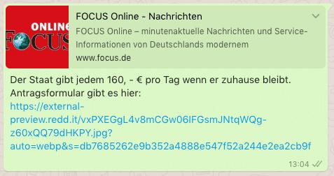 2020-03-20 Staat gibt jedem 160 Euro Focus Online WhatsApp Kettenbrief