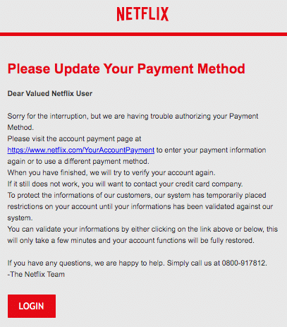 2020-03-21 Netflix Spam-Mail Fake Your Netflix Membership is on hold