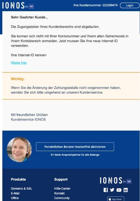2020-03-23 IONOS 1und1 Fake-Mail Neues Update