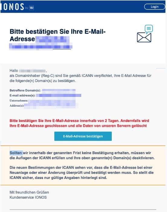 2020-03-23 IONOS 1und1 Spam-Mail Bitte bestaetigen Sie Ihre E-Mail-Adresse