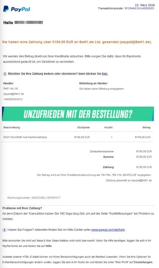 2020-03-23 PayPal E-Mail Zahlung bett1-de Phishing