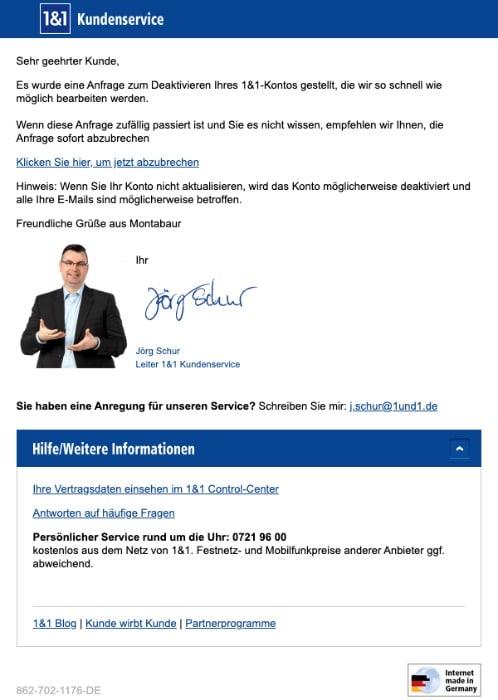 2020-03-24 1und1 IONOS E-Mail Fake Benachrichtigung ueber die Deaktivierung Ihres Kontos