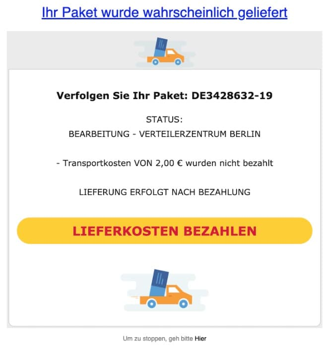 2020-03-25 Spam-Mail Sendebericht Paket verfolgen