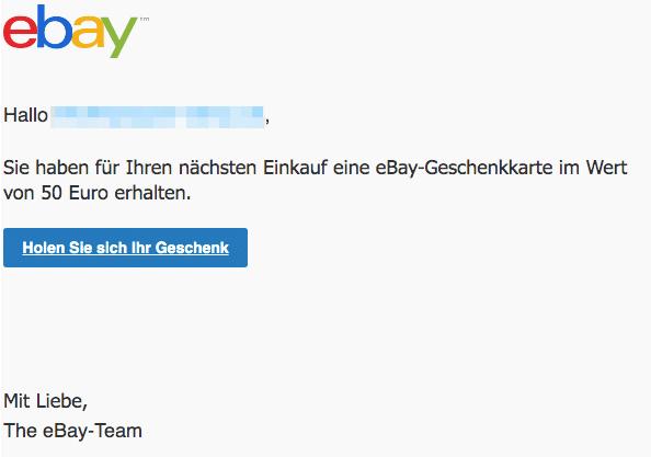 2020-03-28 ebay Spam Fake-Mail Sie haben 50 Euro erhalten