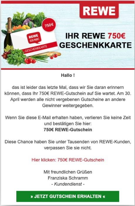 2020-04-02 Rewe Spam Fake-Mail 750 Euro Geschenkkarte