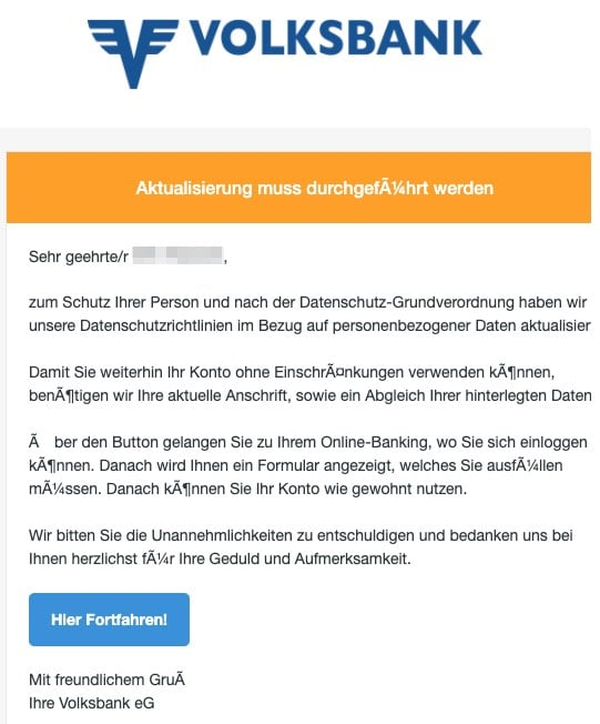 2020-04-02 Volksbank Spam Fake-Mail Information - Volksbanken Sicherheitscenter