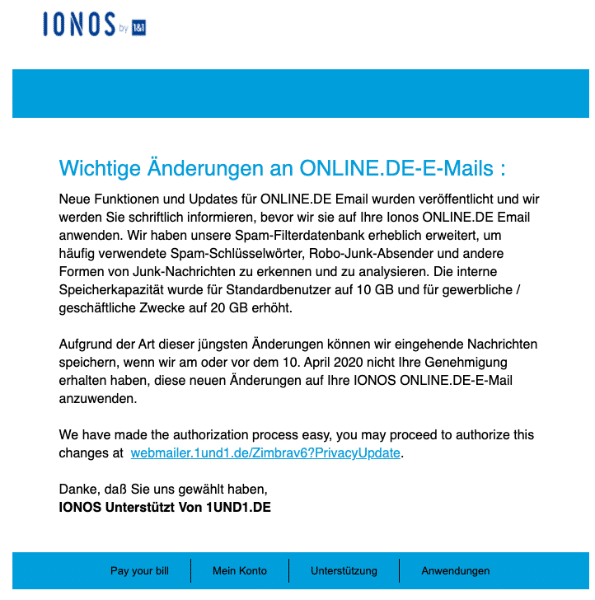 2020-04-03 1und1 IONOS SPam-Mail Fake Wichtige E-Mail-Aenderungen - Aktion erforderlich