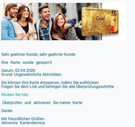 2020-04-03 Advanzia Spam Fake-Mail Ihre Karte wurde gesperrt