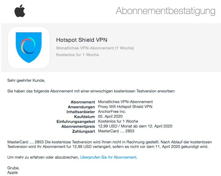 2020-04-06 Apple Spam-Mail Fake Kauf Hotspot Shield VPN Zahlung