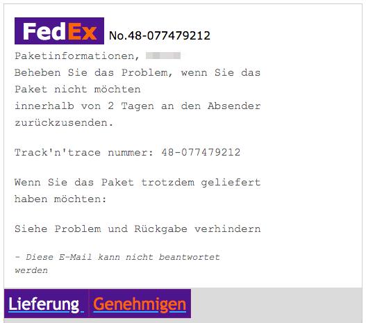 2020-04-13 Fedex Spam-Mail Fake Paket- 48-077479212 - Ausstehend