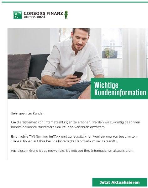 2020-04-23 Consorsbank Spam-Mail Wichtige Kundeninformation