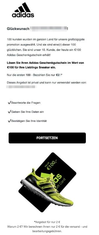 2020-06-03 Adidas SPam Fake-Mail 100 EUro Gutschein