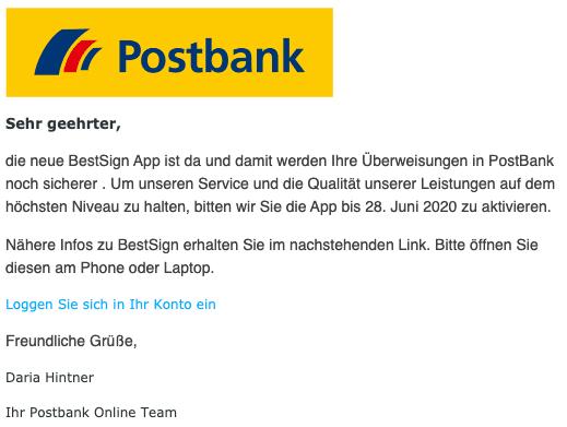 2020-06-25 Postbank SPam Fake-Mail Phishing wichtig kundeninformation
