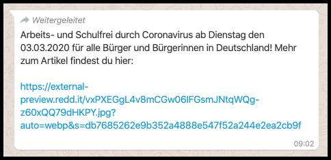 WhatsApp Kettenbrief Coronavirus