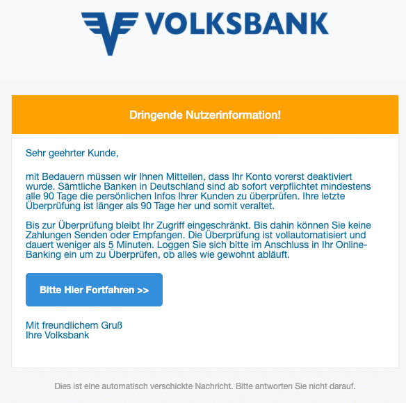 2020-04-02 Volksbank Phishing Spam-Mail Fake Ihr Anliegen