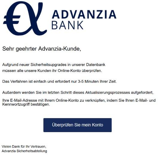 2020-04-04 Advanzia Spam Fake-Mail Benachrichtigung über Sicherheitsupdates