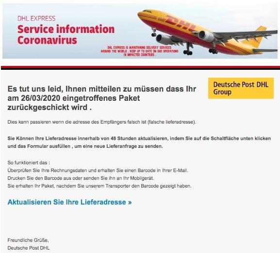 2020-04-04 DHL Deutsche Post Spam-Mail Fake Paketinformationen erhalten
