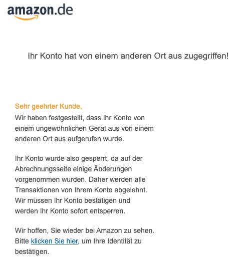 2020-04-06 Amazon SPam Fake-Mail Sie haben verdaechtige Aktivitaeten auf Ihrem Amazon-Konto