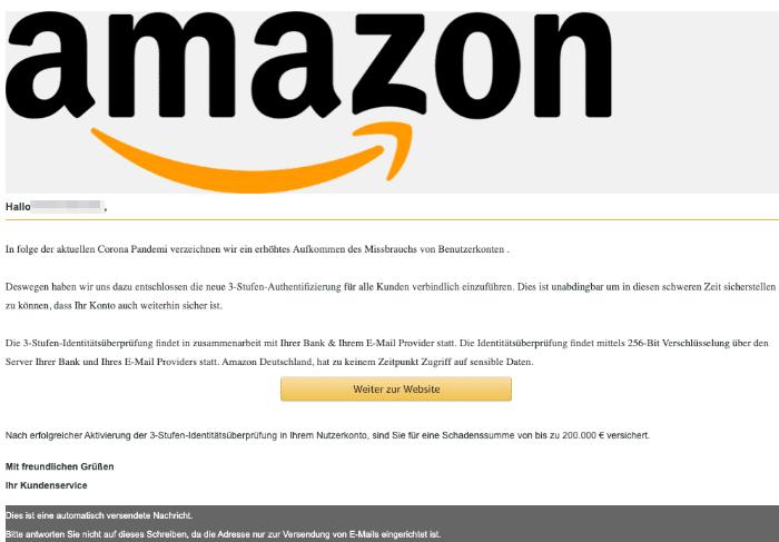 2020-04-06 Amazon Spam Fake-Mail 3-Faktor-Authentisierung
