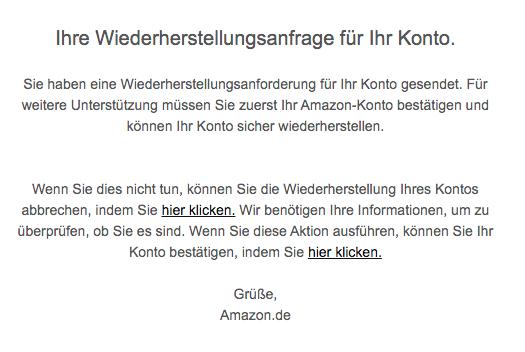 2020-04-09 Amazon Phishing-Mail Ihre neue Wiederherstellungs Anforderung für Ihr Konto