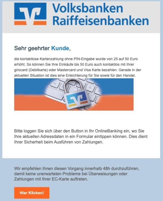 2020-04-09 Volksbank Spam Phishing Aus aktuellem Anlass