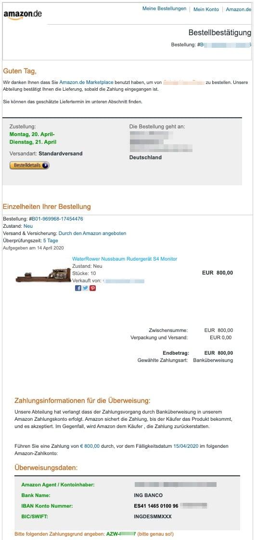 Zahlungsaufforderung Amazon
