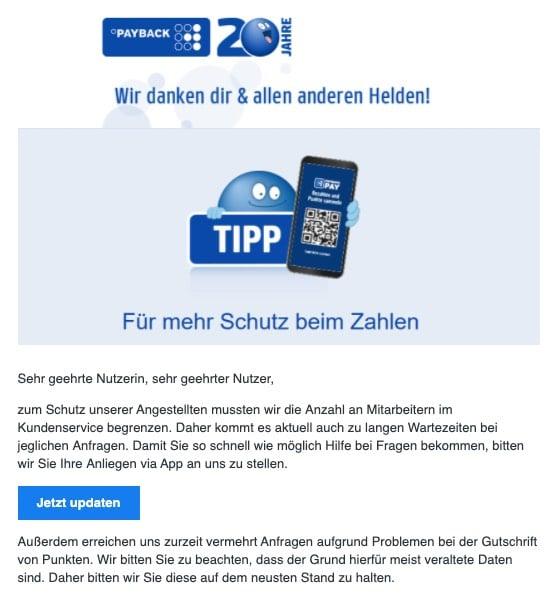 2020-04-15 Payback Spam Fake-Mail Bequem punkten - Wir danken dir & allen Helden