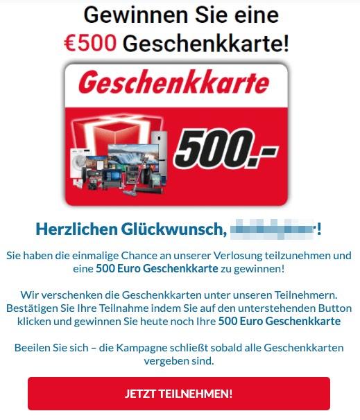 2020-04-16 Media Markt Spam Mail 500 Euro Geschenkkarte