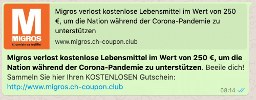 2020-04-16 WhatsApp Nachricht Kettenbrief Migros 250 Euro Gutschein