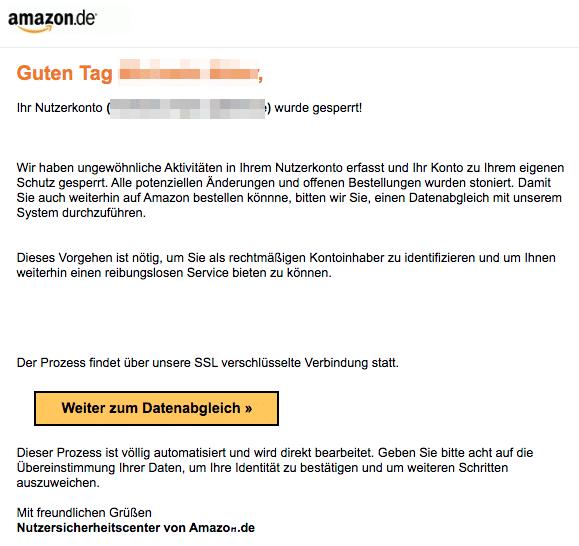 2020-04-19 Amazon Fake-Mail Ihr Nutzerkonto ist eingeschränkt