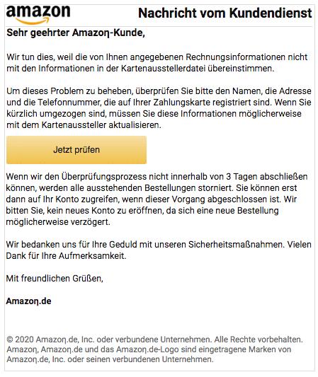 2020-04-19 Amazon Fake-Mail Rechnungsinformationen
