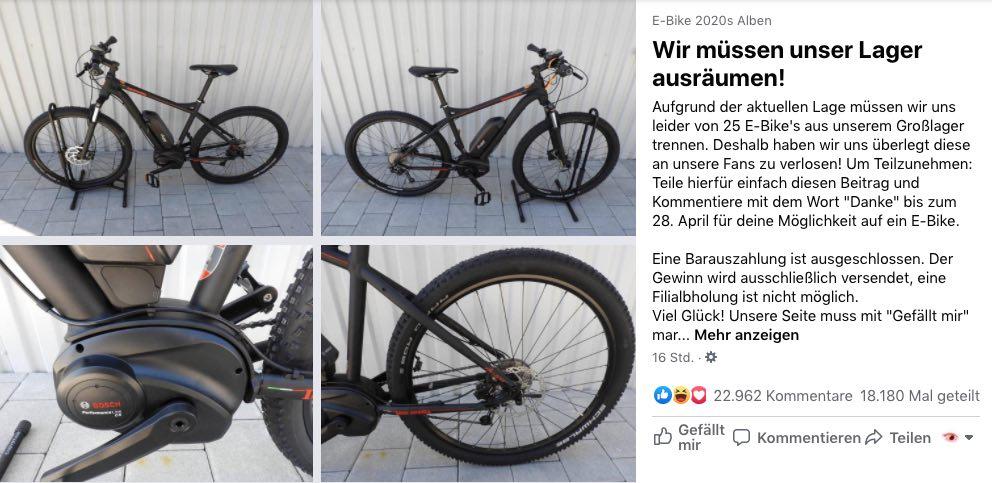 2020-04-20 Facebook Gewinnspiel E-Bike 2020 25 E-Bikes