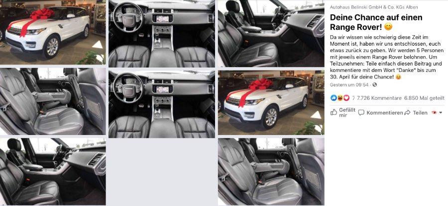 2020-04-20 Fake Gewinnspiel Autohaus Autohaus Belinski 5 Range Rover
