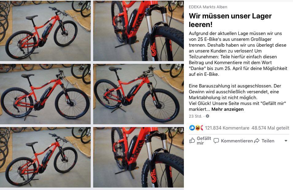 2020-04-21 Facebook Seite Edeka Markt Gewinnspiel 25 E-Bikes