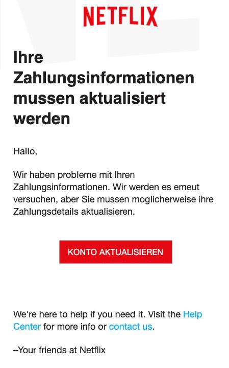 2020-04-21 Netflix Phishing-Mail Fake Kontoaktualisierung